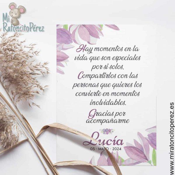 Tarjeta Agradcimiento Comunión floral