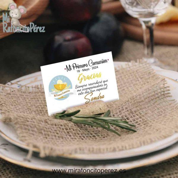 Tarjetas de agradecimiento para invitados comunión